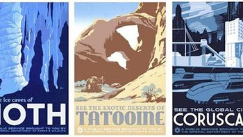 Star Wars travel posters in the style of vintage US National Parks Service posters